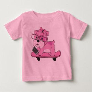 Camiseta Para Bebê Buldogue cor-de-rosa do hipster