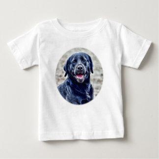 Camiseta Para Bebê Cabeça preta do laboratório