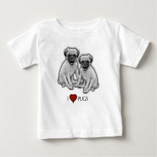 Camiseta Para Bebê Cães do Pug, eu amo Pugs, arte do lápis, coração