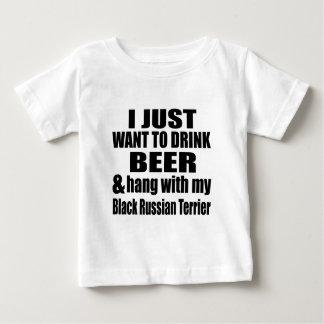 Camiseta Para Bebê Cair com meu russo preto Terrier