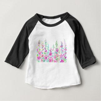 Camiseta Para Bebê Cama floral abstrata da aguarela