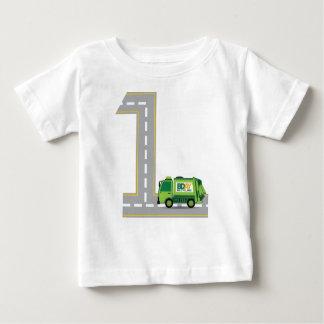 Camiseta Para Bebê Caminhão de lixo do primeiro aniversario