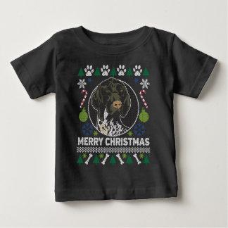 Camiseta Para Bebê Camisola feia alemão do Natal do ponteiro de