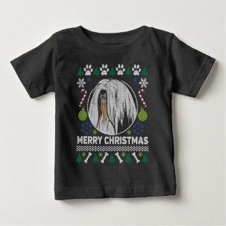 Camiseta Para Bebê Camisola feia do Natal da raça do cão de Lhasa