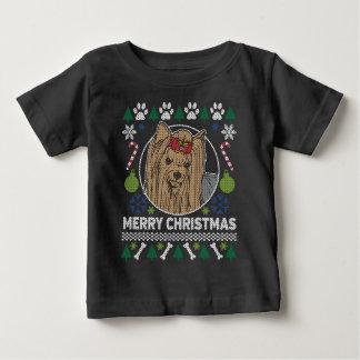 Camiseta Para Bebê Camisola feia do Natal da raça do cão de Yorkie
