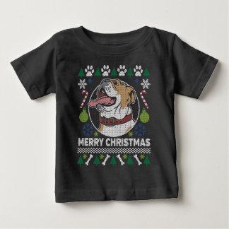 Camiseta Para Bebê Camisola feia do Natal da raça do cão do buldogue
