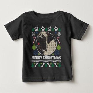 Camiseta Para Bebê Camisola feia do Natal da raça do cão do Mastiff
