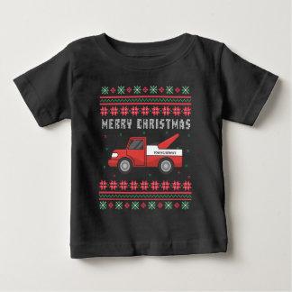 Camiseta Para Bebê Camisola feia do Natal do caminhão de reboque
