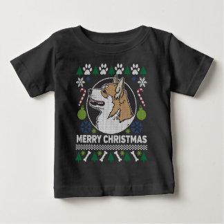 Camiseta Para Bebê Camisola feia do Natal do cão do Corgi de Galês do