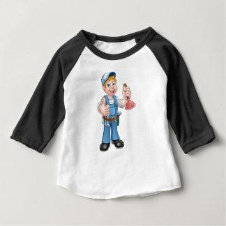 Camiseta Para Bebê Canalizador do trabalhador manual dos desenhos