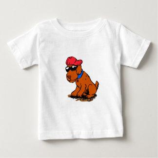 Camiseta Para Bebê Cão com chapéu e vidros