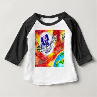 Camiseta Para Bebê Cão estrangeiro na arte do espaço