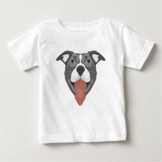 Camiseta Para Bebê Cão Pitbull de sorriso da ilustração