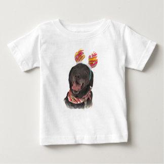 Camiseta Para Bebê Cão preto feliz de labrador retriever