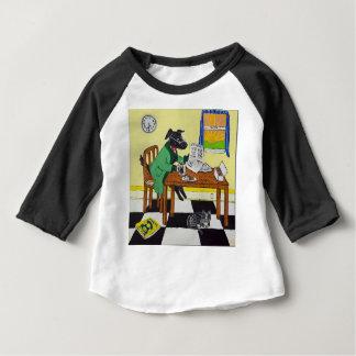 Camiseta Para Bebê Cão que aprecia o café e as rosquinhas