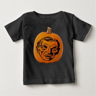 Camiseta Para Bebê Cara do vampiro da lanterna do o de Jack, abóbora