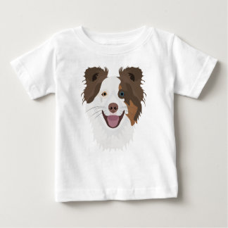 Camiseta Para Bebê Cara feliz border collie dos cães da ilustração