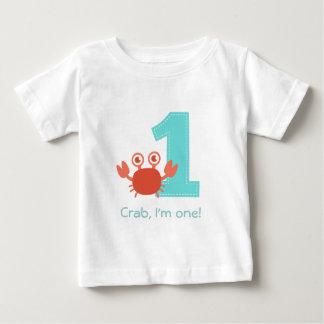 Camiseta Para Bebê Caranguejo bonito, caranguejo eu sou um, primeiro