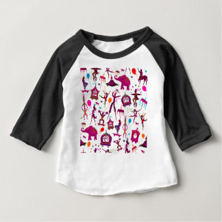 Camiseta Para Bebê caráteres coloridos do circo no branco