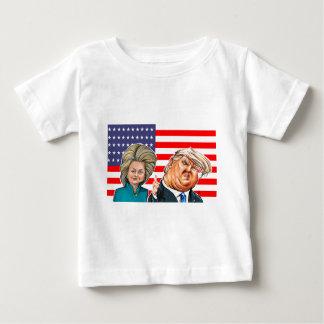 Camiseta Para Bebê Caricatura do trunfo e da Hillary
