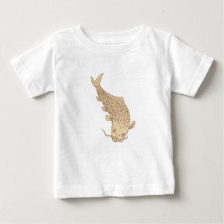 Camiseta Para Bebê Carpa de Koi Nishikigoi que mergulha abaixo do