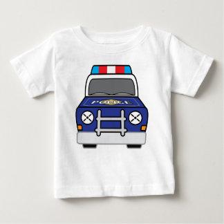 Camiseta Para Bebê Carro-patrulha azul corajoso da polícia