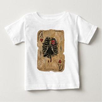 Camiseta Para Bebê Cartão de esqueleto de Ribcage dos corações do ás