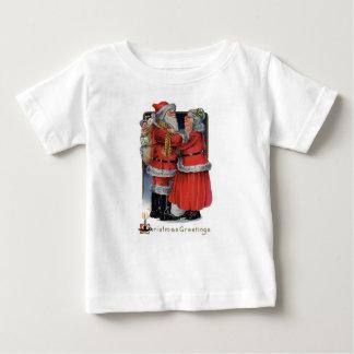 Camiseta Para Bebê Cartões de natal do Sr. e da Sra. Claus
