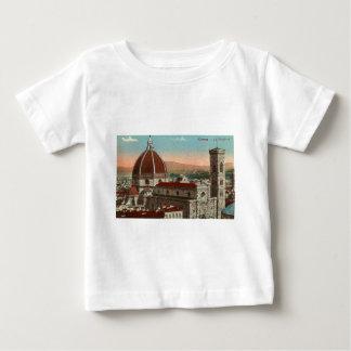 Camiseta Para Bebê Catedral retro de Florença Italia Italia da arte