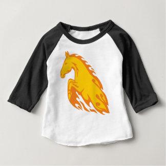 Camiseta Para Bebê Cavalo ateado fogo chamativo da chama