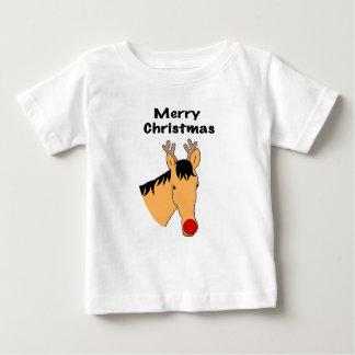 Camiseta Para Bebê Cavalo da rena do Natal
