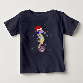 Camiseta Para Bebê Cavalo marinho com o t-shirt do Natal do chapéu do