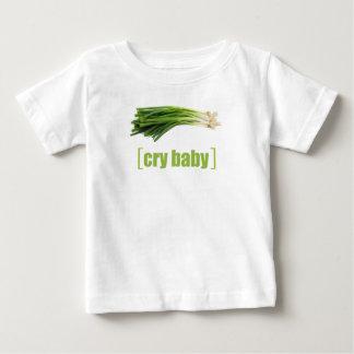 Camiseta Para Bebê Cebola verde da chalaça vegetal do bebê do grito