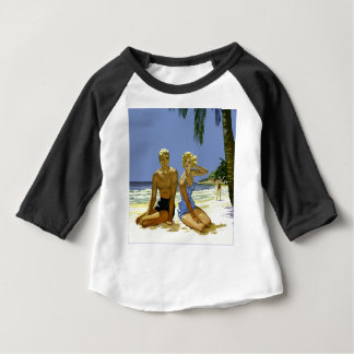 Camiseta Para Bebê Cena da praia
