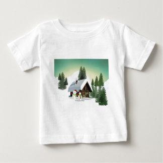 Camiseta Para Bebê Cena do boneco de neve do Natal