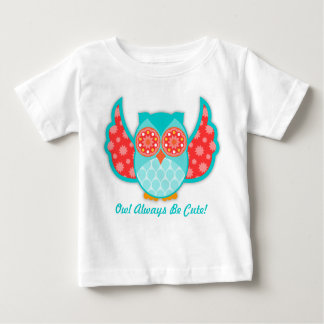 Camiseta Para Bebê Cerceta & vermelho de Boheme da coruja