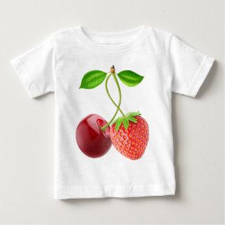 Camiseta Para Bebê Cereja e morango junto