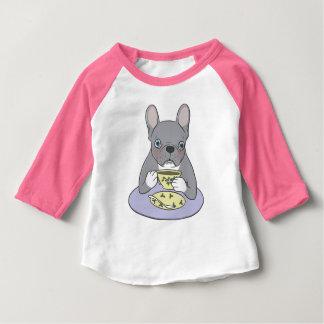 Camiseta Para Bebê Chás altos com francês rajado azul doce e bonito
