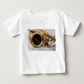 Camiseta Para Bebê Chaves de Notenblatt do brilho do ouro da música
