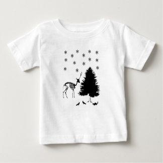 Camiseta Para Bebê Chipmunk dos pombos da neve da árvore dos cervos
