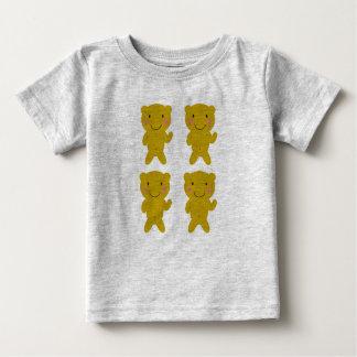 Camiseta Para Bebê Cinza bonito do t-shirt dos miúdos com ursos