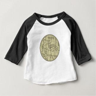 Camiseta Para Bebê Círculo de madeira do Sawing medieval do