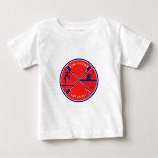 Camiseta Para Bebê Círculo de pé da pá e do caiaque retro