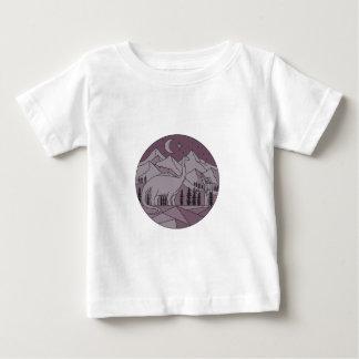 Camiseta Para Bebê Círculo mono L da lua da montanha do Brontosaurus