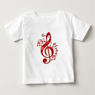 Camiseta Para Bebê Clef de triplo vermelho com notas de fluxo da