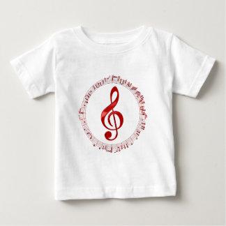Camiseta Para Bebê Clef de triplo vermelho em notas da música