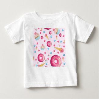 Camiseta Para Bebê Colagem cor-de-rosa da rosquinha