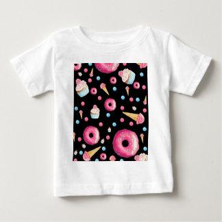 Camiseta Para Bebê Colagem preta da rosquinha