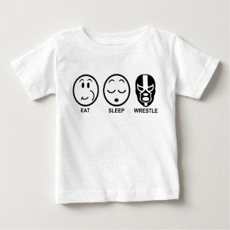 Camiseta Para Bebê Coma o Wrestle do sono