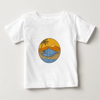 Camiseta Para Bebê Conch Shell na árvore de coco segunda-feira de Sun